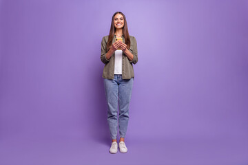 Fototapeta Full length body size photo smiling girl browsing internet with cellphone isolated pastel violet color background obraz