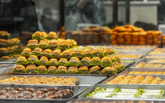 Turkish sweets on the counter in the store