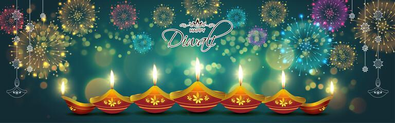 Fototapeta Vector greeting of Happy Diwali, Dipawali, Indian festival of lights, danglers, diya, oil lamp and lotus on beautiful pattern, holiday wishes poster. obraz