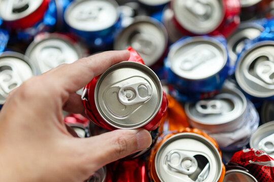 recycle aluminum metal crushed can waste background