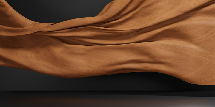 Abstract wave wooden wall. wooden pattern, 3d illustration.