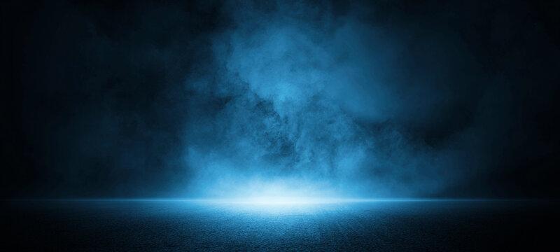 Dark street, asphalt abstract dark blue background, empty dark scene, neon light, spotlights The concrete floor and studio room with smoke float up the interior texture for display products