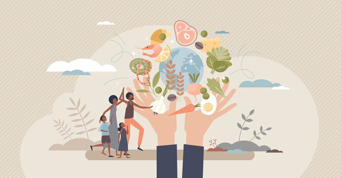 Food security as access to sufficient or quality products tiny person concept. Global international needs and right to eat safe meal vector illustration. Ability to get vegetables for balanced diet.