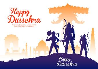 Fototapeta Lord Rama and Ravana in Dussehra Navratri festival of India poster obraz