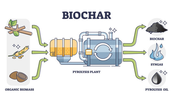 Biochar, syngas and oil production by pyrolysis plant from organic biomass. Thermal decomposition of materials at high temperatures. Means of carbon sequestration and climate change mitigation.