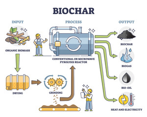 Obraz Biochar, biogas, bio oil and energy production by conventional or microwave pyrolysis reactor. Illustrated scheme with the process stages. Means of carbon sequestration and climate change mitigation. - fototapety do salonu