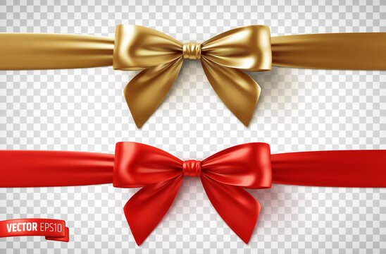 Vector realistic illustration of gold and red ribbons on a transparent background.
