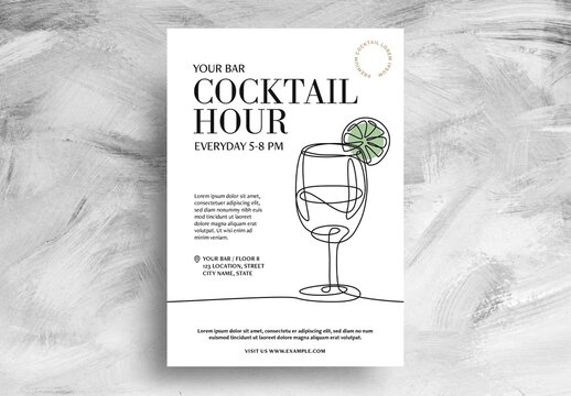 Cocktail Bar Flyer with Wine Glass Illustration