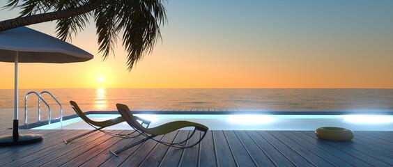 Fototapeta Sonnenterrasse mit Sonnenliegen am Abend obraz