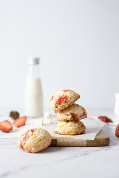Strawberry cream cheese cookies. set on cafe table.