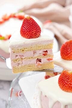 Strawberry chiffon cake with fresh cream. Cake for celebration.