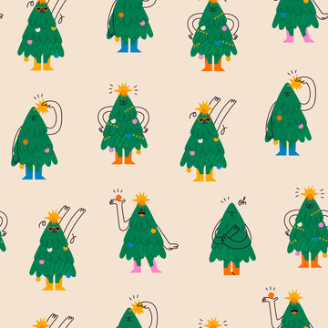 Funny Christmas trees. Characters with smiling faces. Cartoon style. Merry Christmas, New year concept. Trees with hands, legs, garland with lights. Hand drawn Vector seamless Pattern