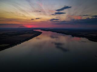 Mesmerizing view of Danube river at scenic sunset in Romania