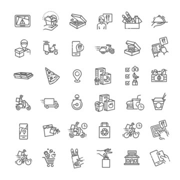 Food delivery service icons set. Outline set of food delivery service vector icons