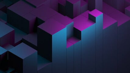 Fototapeta Abstract blue purple digital data background 3d render polygon. Abstract techno purple geometric technology background. 3D Rendering purple. obraz