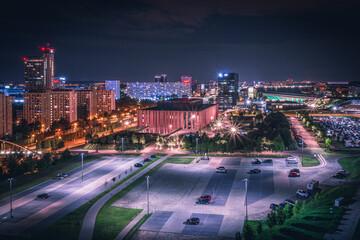 Fototapeta premium Nocna panorama Katowic   Górny Śląsk, Katowice