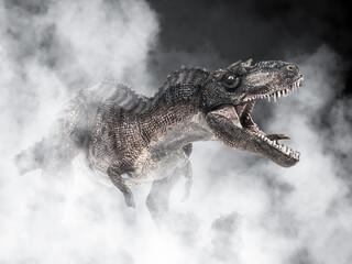Obraz Gorgosaurus Dinosaur on smoke background - fototapety do salonu