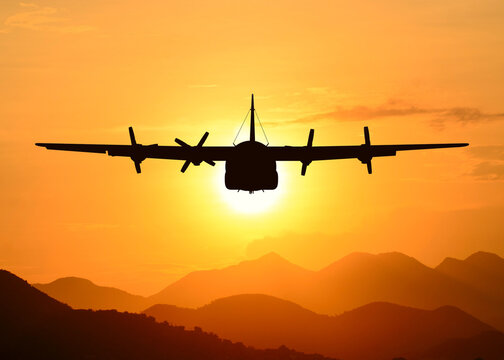 American military transport aircraft in the flight