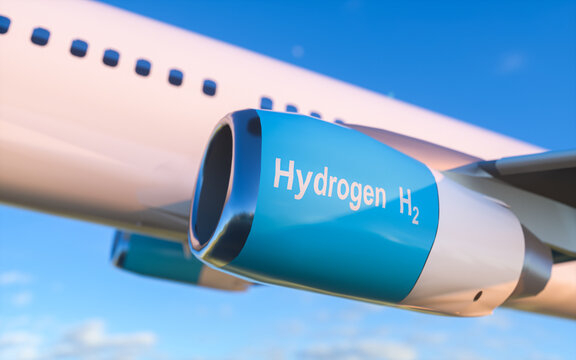 Blue Hydrogen filling H2 Airplane flying  in the sky - H2 energy concept