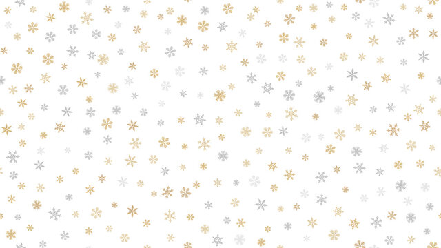 Golden snowflakes background. Luxury vector Christmas seamless pattern with small gold and silver snow flakes on white background. Winter holidays theme. Repeat design for decor, wallpaper, web, print