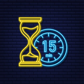 The 15 minutes, stopwatch vector neon icon. Stopwatch icon in flat style, timer on on color background. Vector illustration
