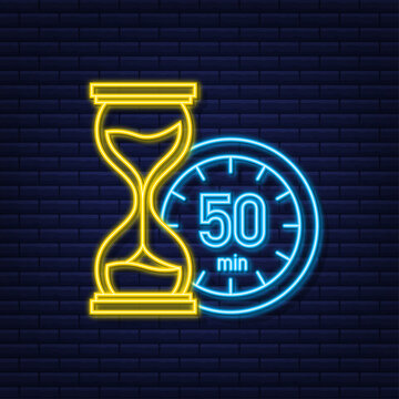 The 50 minutes, stopwatch vector neon icon. Stopwatch icon in flat style, timer on on color background. Vector illustration