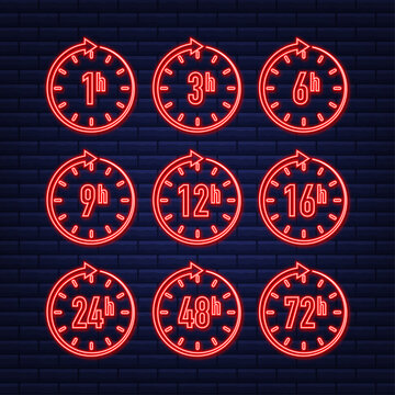 12, 24, 48, 72 hours neon clock arrow. Work time effect or delivery service time. Vector stock illustration