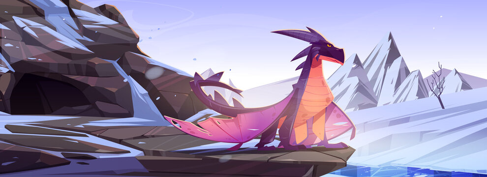 Winter dragon sitting on rock at snowy mountains landscape. Cartoon fantasy character, magic creature observe territory. Fairytale flying animal, book or computer game personage, Vector illustration