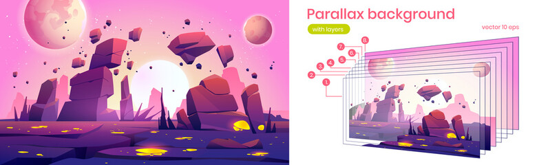 Fototapeta Alien planet landscape with rocks, cracks and glowing spots. Vector parallax background for 2d animation with cartoon fantasy illustration of cosmos with sun and moons and planet surface obraz