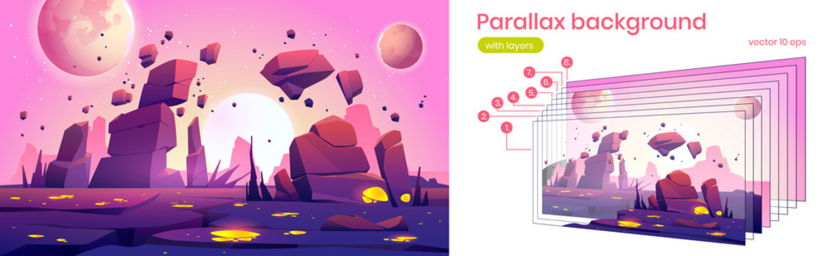 Alien planet landscape with rocks, cracks and glowing spots. Vector parallax background for 2d animation with cartoon fantasy illustration of cosmos with sun and moons and planet surface