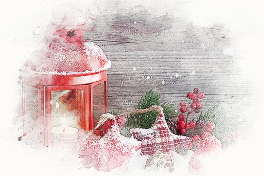 Illustration de Noël, lanterne rouge
