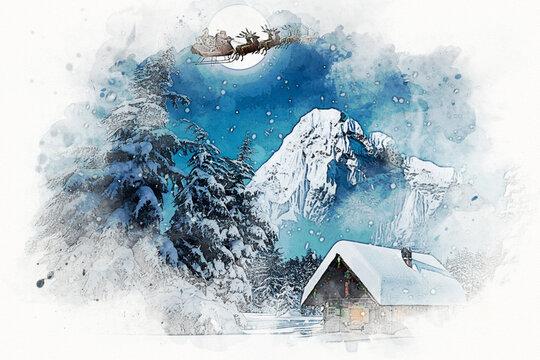 Illustration de Noël, traineau du père noël