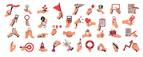 Obraz Set of colored hands with objects. Collection of hand gestures. Business elements, documents and digital devices. Money and credit card. Vector illustration flat design. Isolated on white background - fototapety do salonu