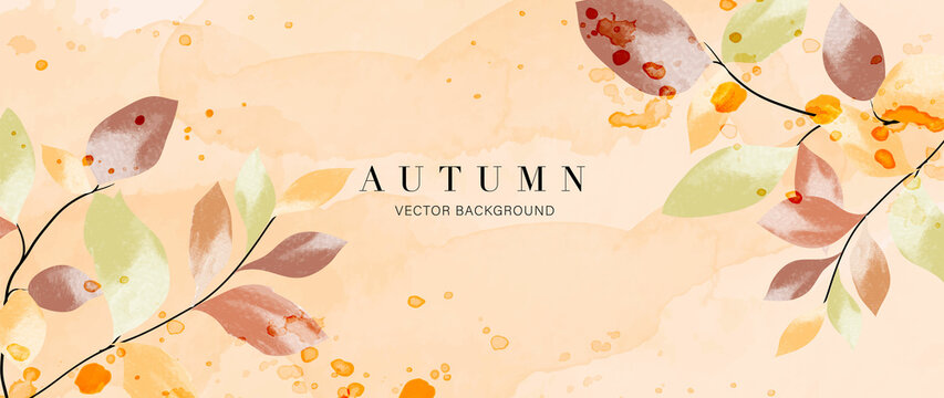 Autumn background vector. Hand painted watercolor and gold brush texture, Flower and botanical leaves hand drawing. Abstract art design for wallpaper, wall arts, cover, wedding and  invite card.