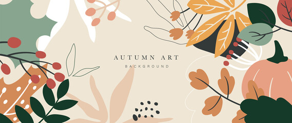Obraz Autumn background vector. Autumn shopping event illustration wallpaper with hand drawn icons set. This design good for banner, sale poster, packaging background and greeting card. - fototapety do salonu