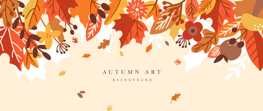 Autumn background vector. Autumn shopping event illustration wallpaper with hand drawn icons set. This design good for banner, sale poster, packaging background and greeting card.