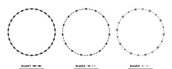 Fototapeta 円形、丸型のフレーム、ラベル、背景素材のイラストセット 黒色バージョン obraz