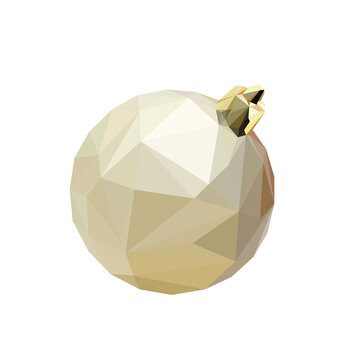Christmas bulb, isolated low polygonal vector illustration from triangles. Golden flask