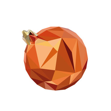 Christmas bulb, isolated low polygonal vector illustration from triangles. Geometric orange flask
