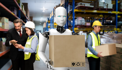 Fototapeta Innovative industry robot working in warehouse together with human worker . Concept of artificial intelligence for industrial revolution and automation manufacturing process . obraz