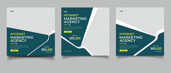 Obraz Digital marketing agency instagram post and social media banner template - fototapety do salonu