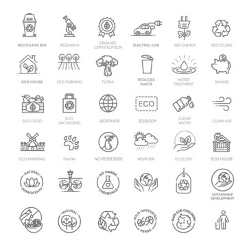 Ecology and green energy, thin line web icon set. Outline icons collection.