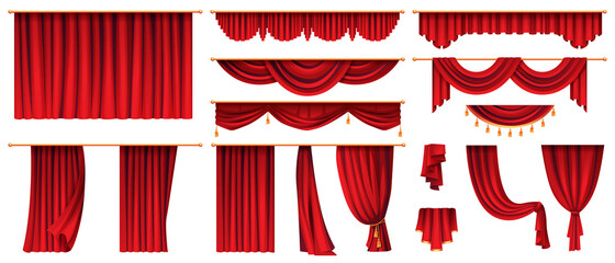 Fototapeta Vector 3d realistic set of red luxury curtains, open and closed obraz