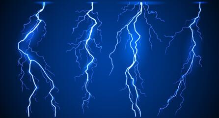 Fototapeta Lightnings set vector obraz