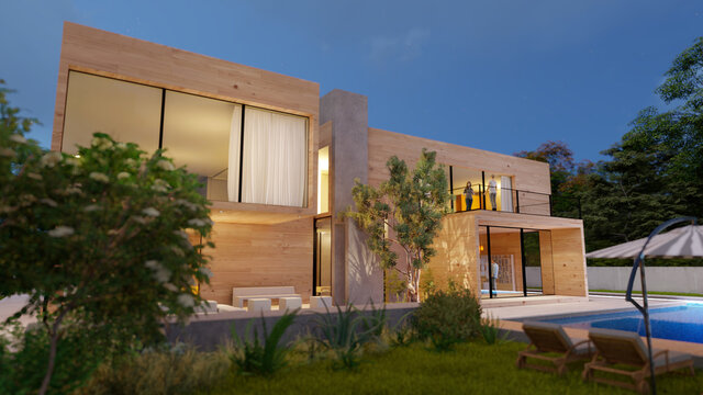 Big contemporary villa in light wood with pool and garden in the evening