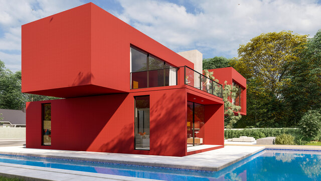 Big contemporary red villa with pool and garden