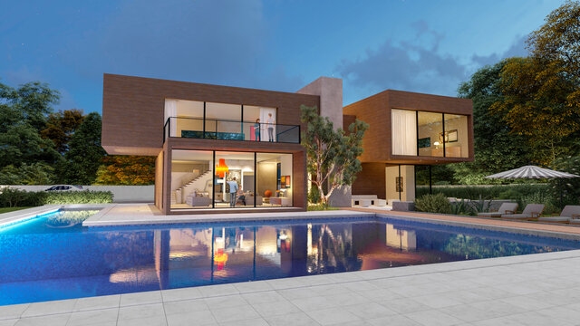 Big contemporary villa in dark wood with pool and garden in the evening