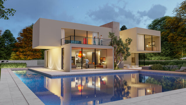 Big contemporary villa in light wood with pool and garden in the evening 2