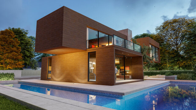 Big contemporary villa in light wood with pool and garden in the evening 3