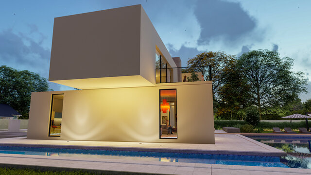 Big contemporary villa in light  with pool and garden in the evening 4
